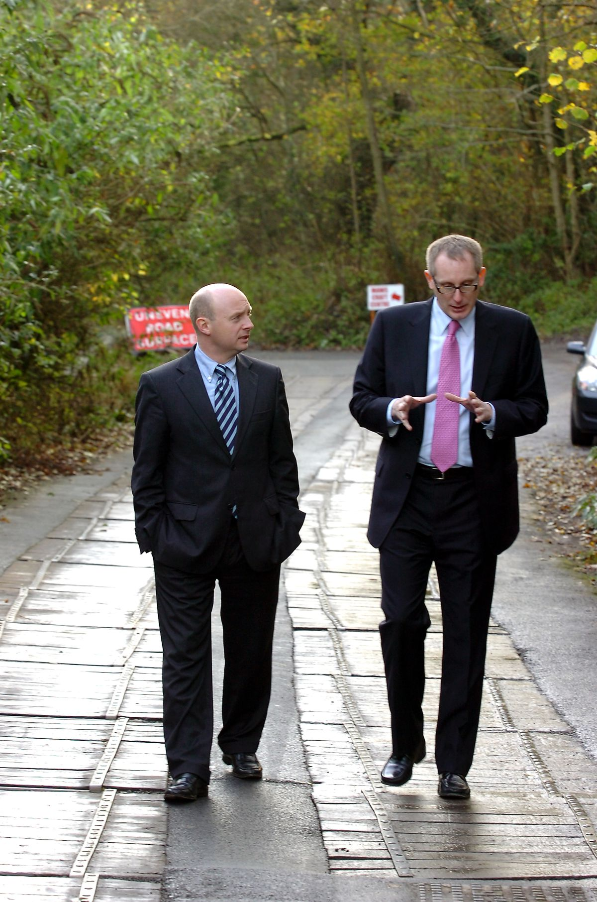 Government minister Liam Byrne and then Telford MP David Wright walk along the flexible wooden surface of Salthouse Road in 2007.