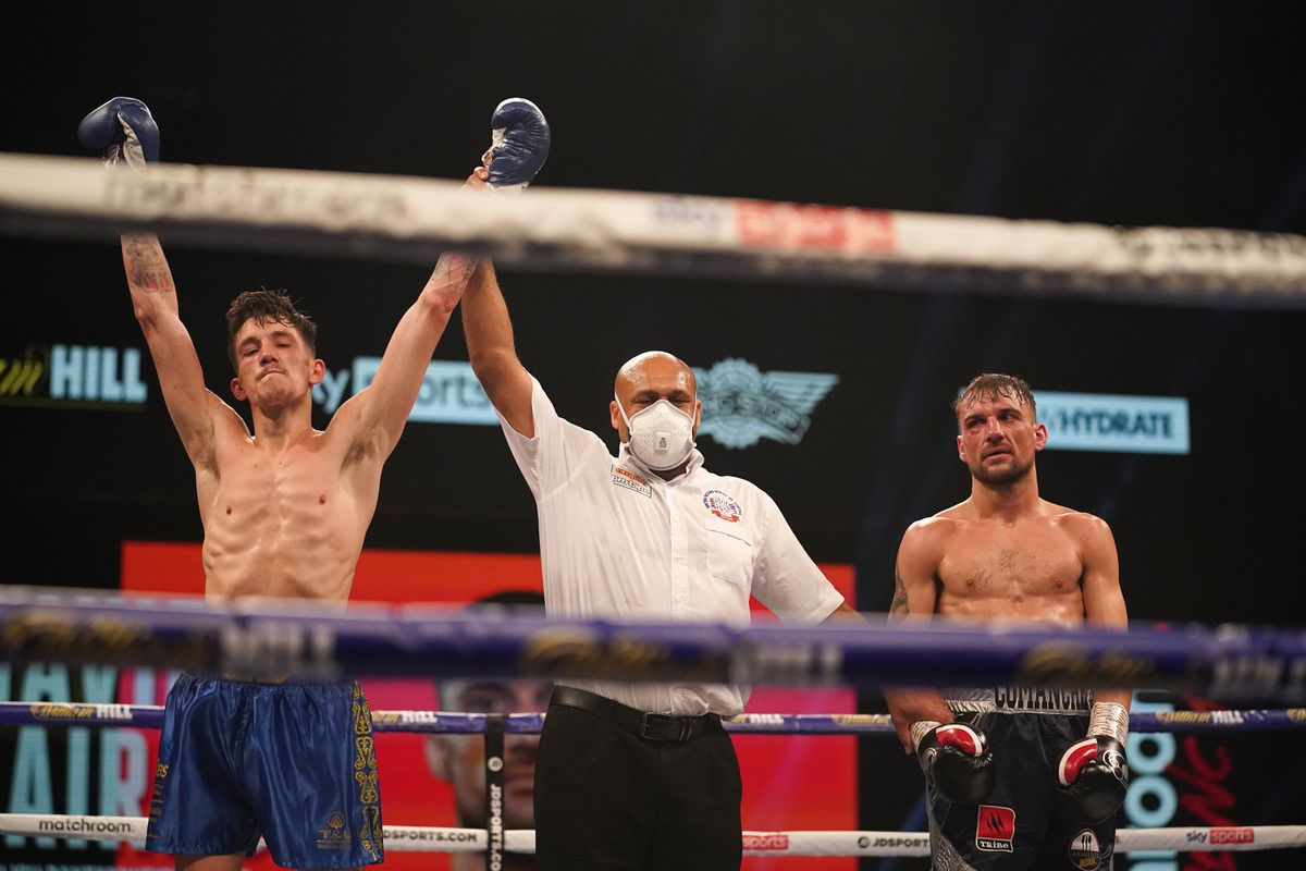 Liam Davies wins after Sean Cairns is pulled out at the end of the sixth round. Picture courtesy of Dave Thompson/Matchroom.