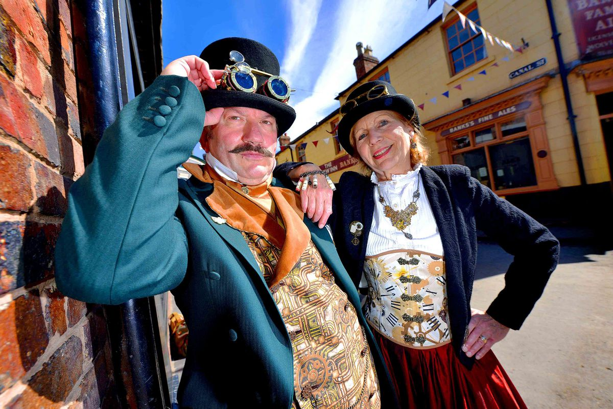David and Francoise Steel from Cambridge at Blists Hill Victorian Town's first ever Steampunk Festival