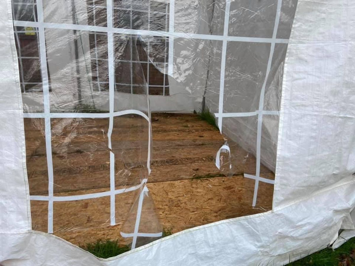 The damaged marquee at 1st Shifnal Scout Group