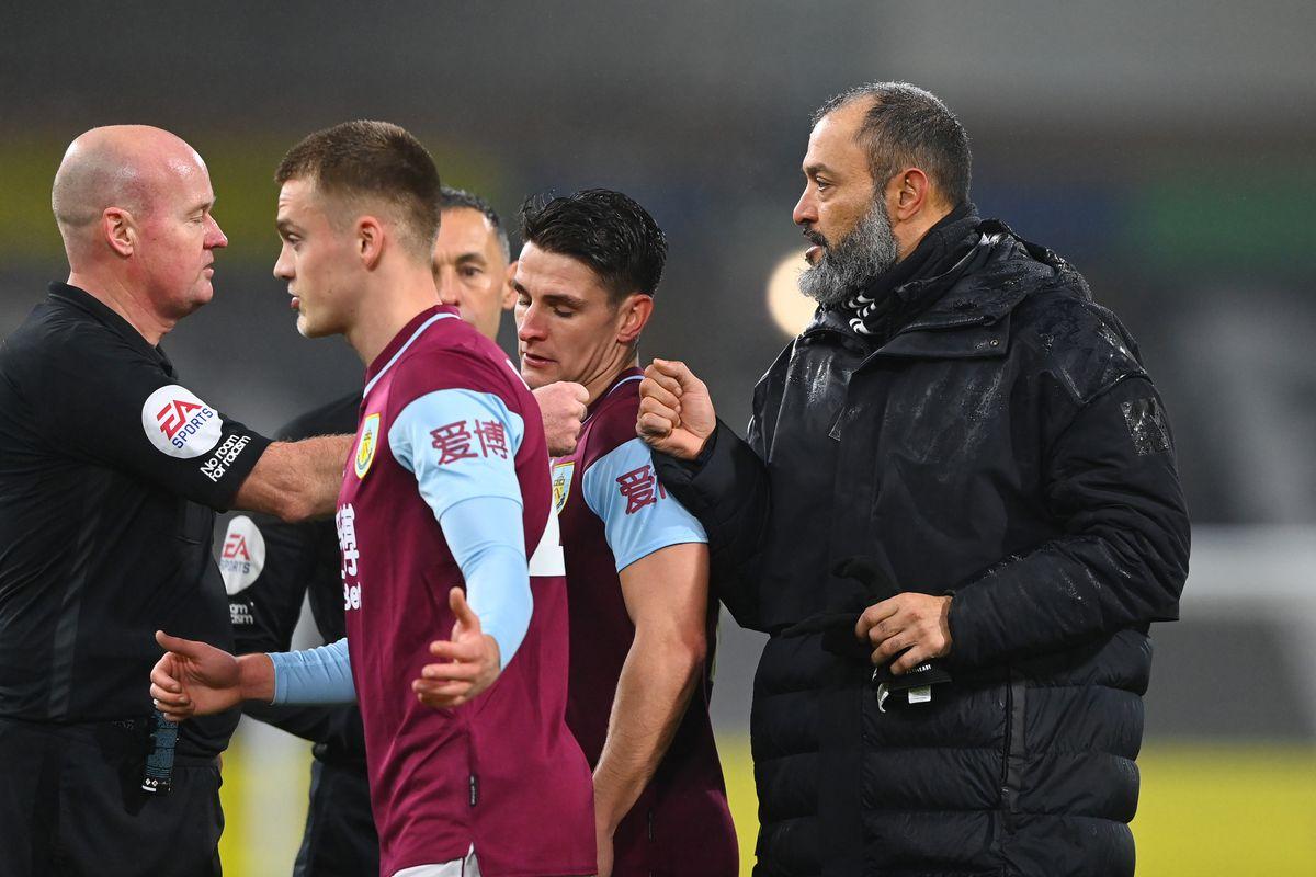 A dejected Nuno Espirito Santo the head coach / manager of Wolverhampton Wanderers after losing 2-1 at Burnley (AMA)