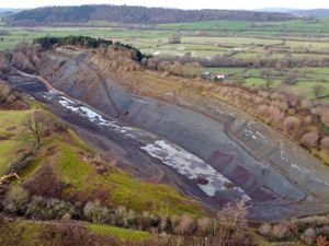 Aerial photo of Buttington Quarry, Welshpool. Photo, Tim Thursfield
