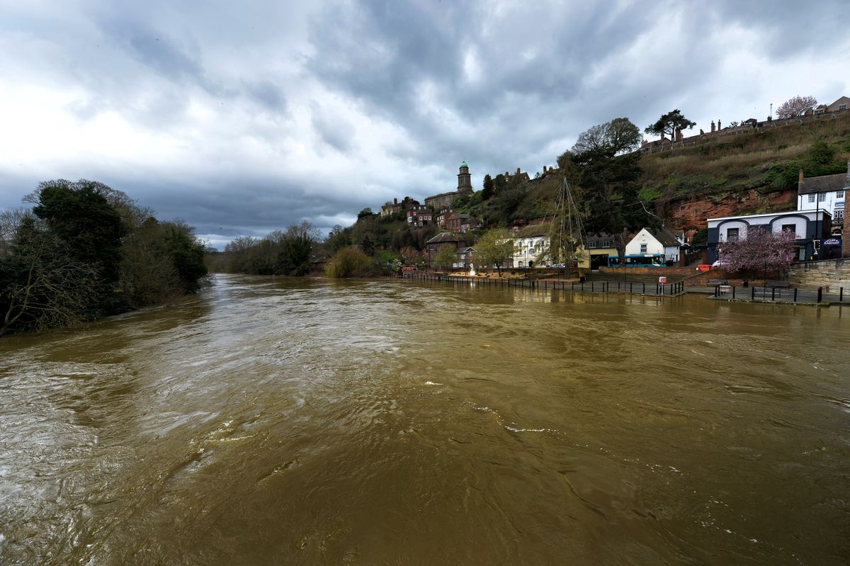 The swollen Severn in Bridgnorth on Tuesday