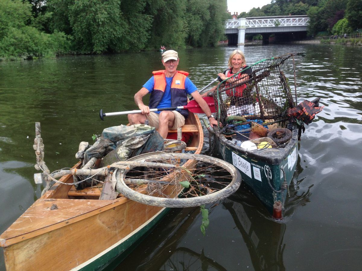 Group members with some of the rubbish collected, including an old bicycle, from a clean of the River Severn through Bridgnorth