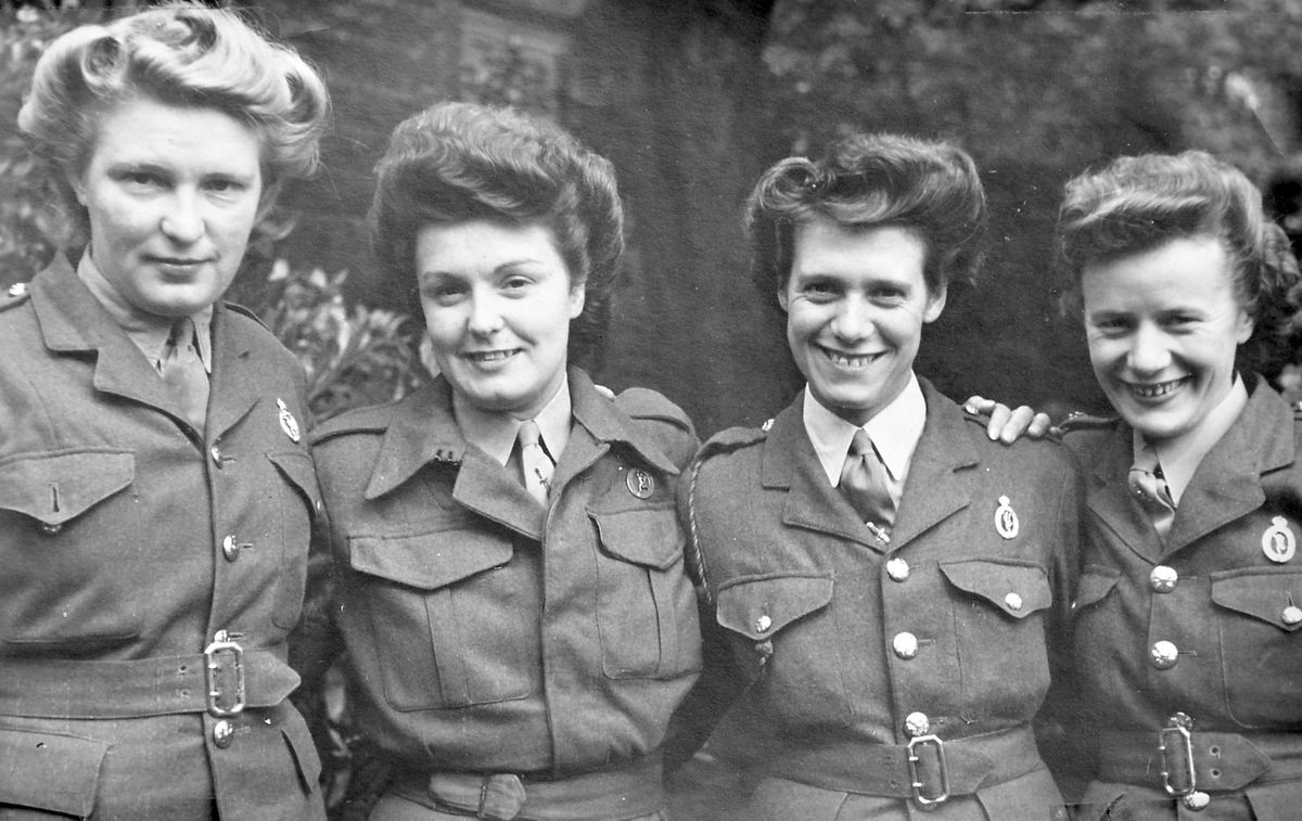 ATS Corporal Myfanwy 'Van' Jones of Welshpool, right, with some colleagues. Photo: Rob Davis