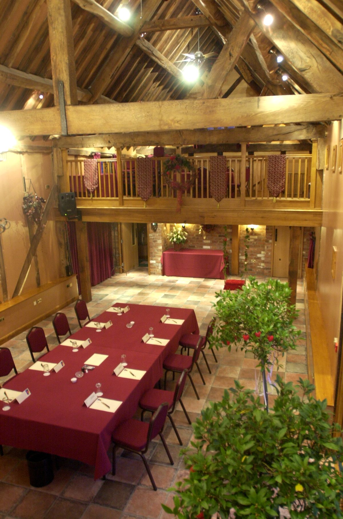 Original timbers on show at the tithe barn at the Hundred House Hotel, Norton (pictured here in 2005).