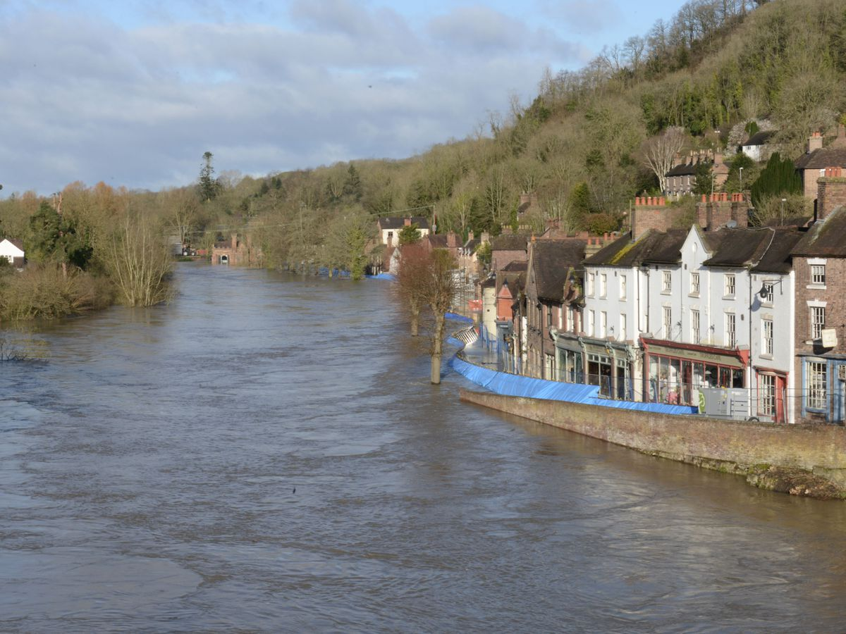 Flood barriers in Ironbridge which moved overnight due to pressure of the water
