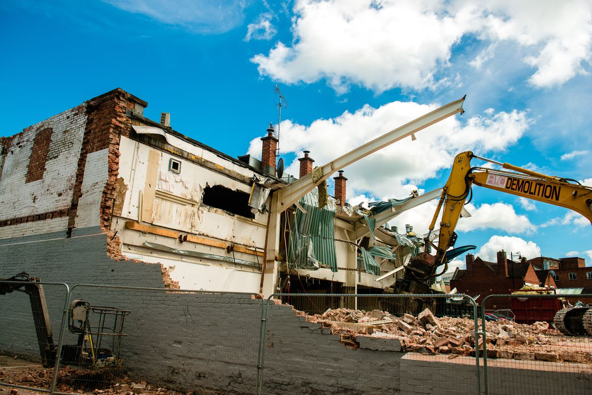 Demolition has begun ahead of the construction of new halls for University Centre Shrewsbury