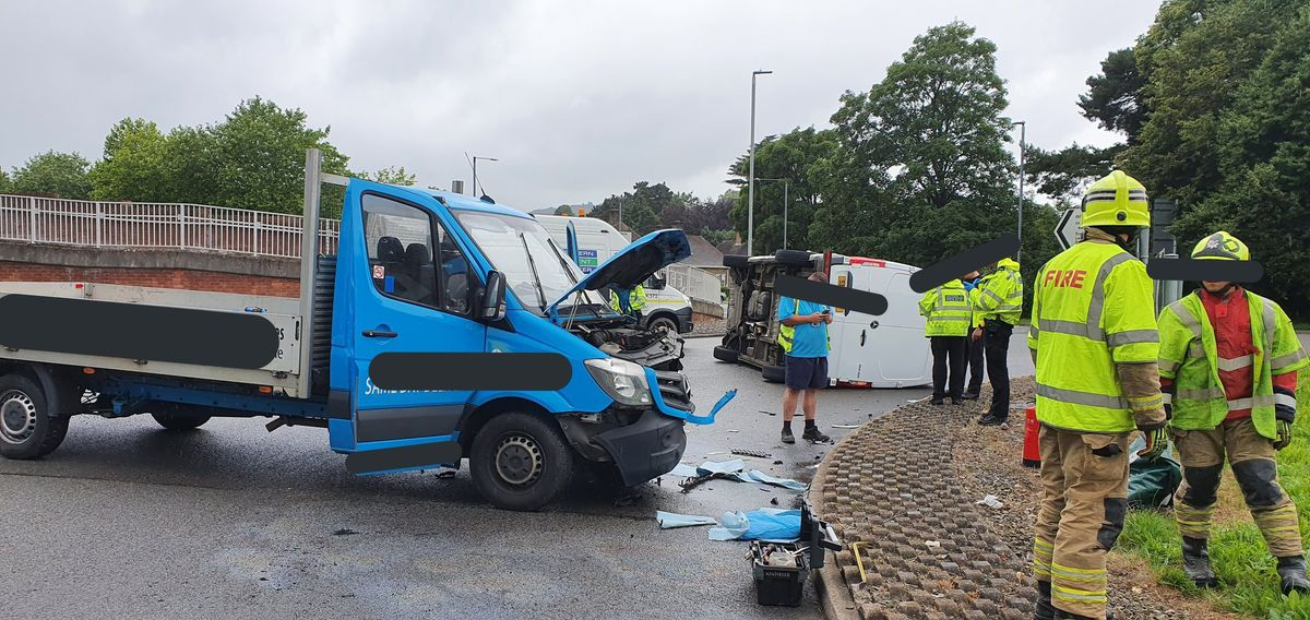 A van flipped onto its side after a crash in Welshpool. Picture: Welshpool Fire Station