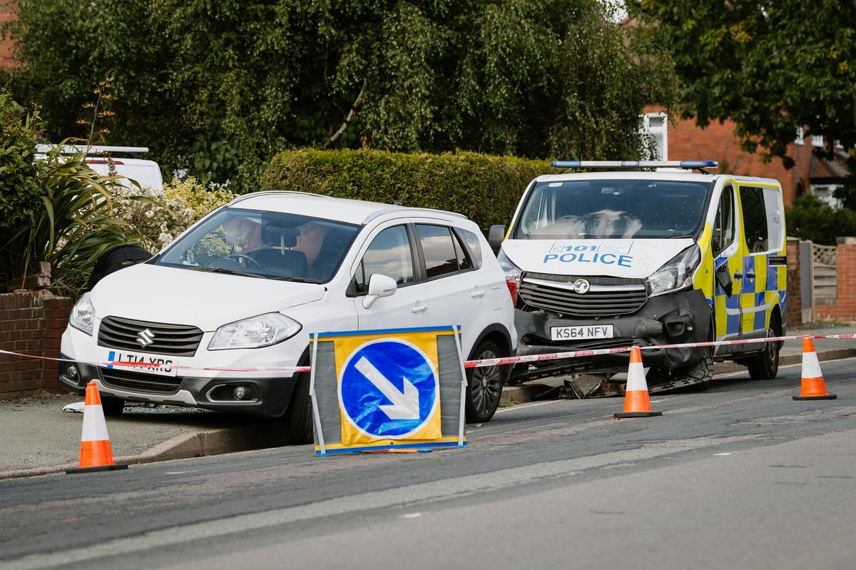 The scene in Monkmoor Road after the crash