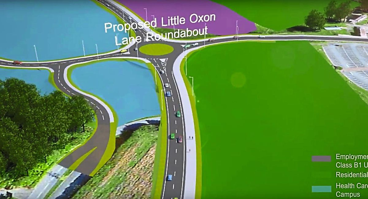 A still from a video of the proposed relief road route