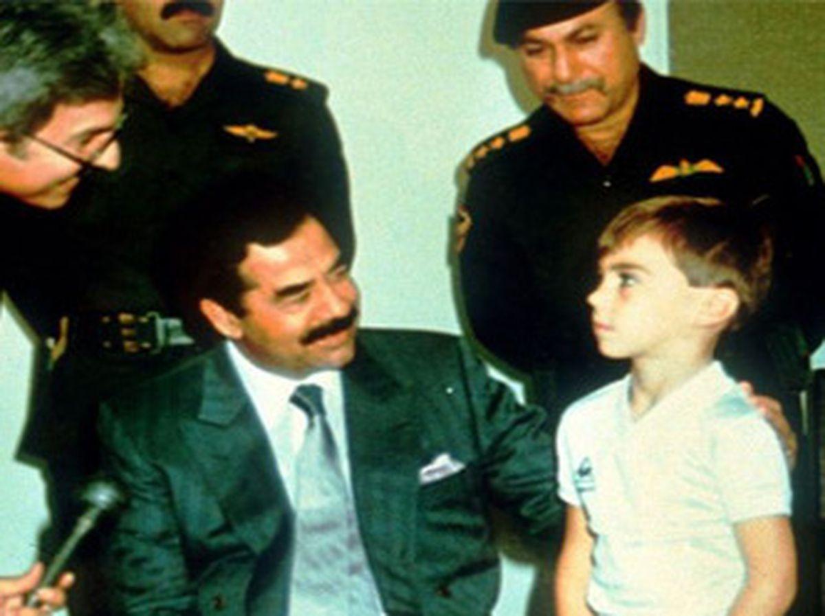Saddam Hussein chats to five-year-old Stuart Lockwood in a propaganda broadcast