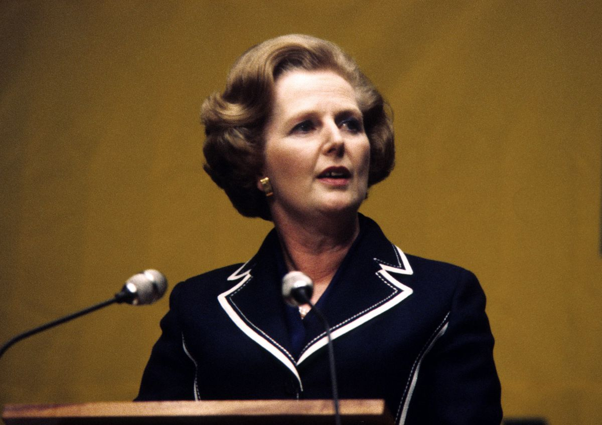 Margaret Thatcher giving a speech shortly before her 1979 election victory.