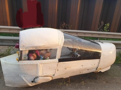 Is it a bike? Is it a plane? Bizarre-looking vehicle stopped on motorway