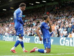 Everton's Dominic Calvert-Lewin (right) celebrates scoring