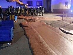 It's a rocky road as a tonne of molten chocolate spills across street