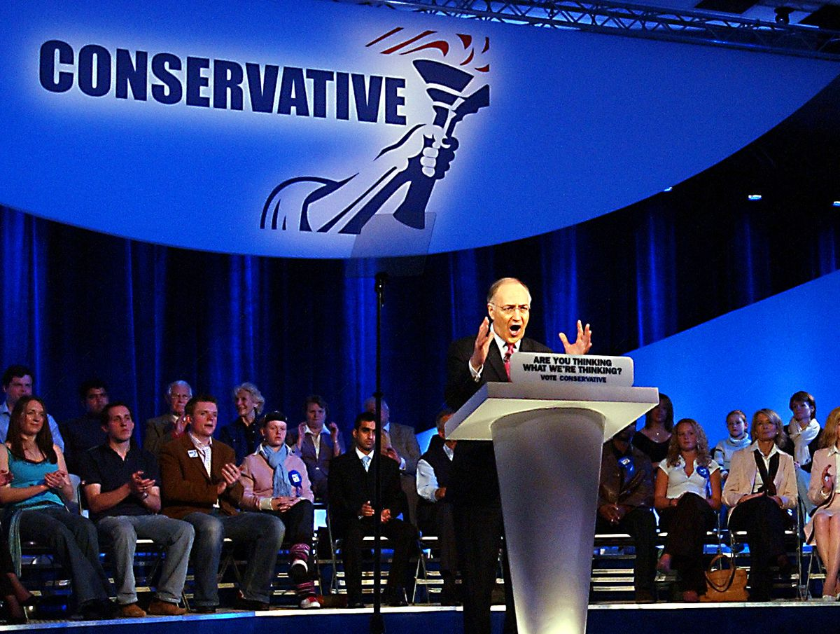 Michael Howard delivers his keynote speech at Telford