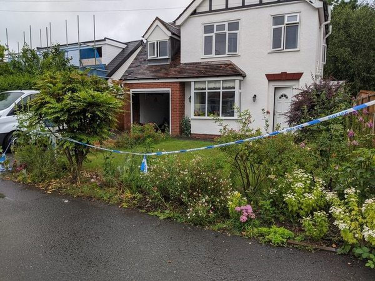 The police cordon in Haughton Drive, Shifnal, after Judy Fox disappeared