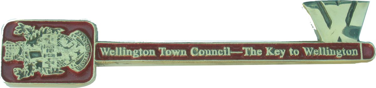 The key features the town's crest.