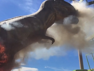 In video: Jurassic spark as animatronic T-Rex goes up in flames