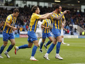 Ryan Bowman of Shrewsbury Town celebrates with his team mates after scoring a goal to make it 1-0 (AMA)