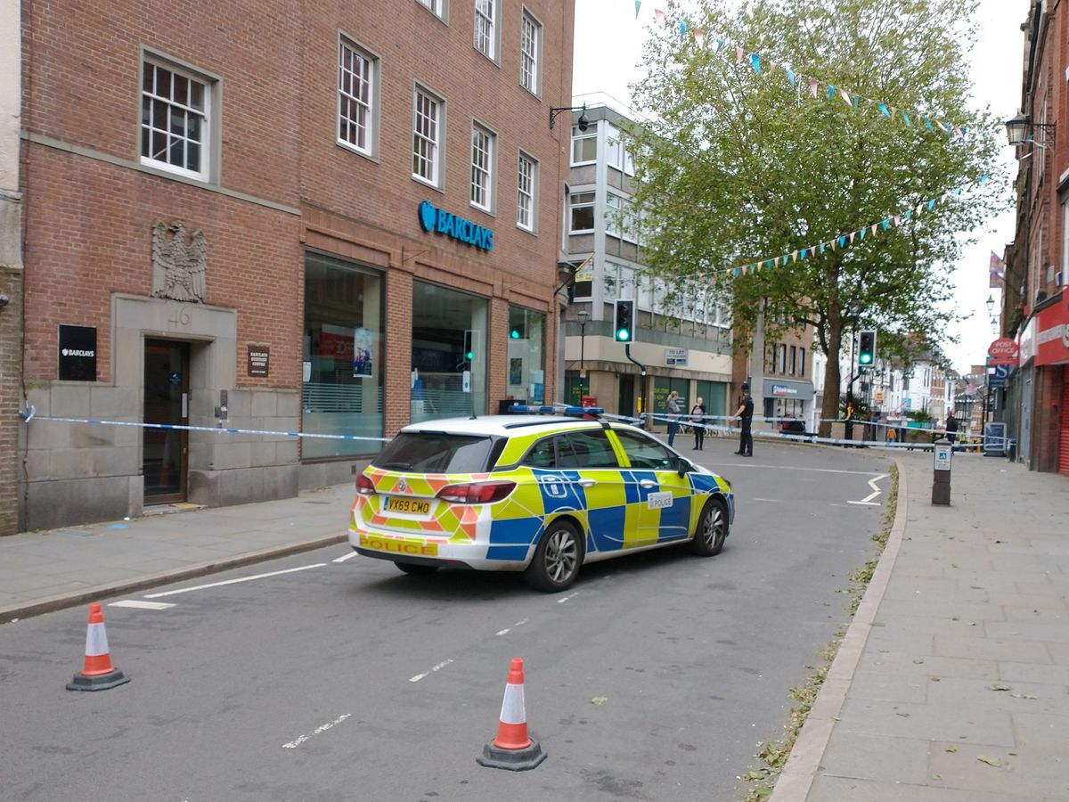 Police closed Castle Street in Shrewsbury on Thursday morning
