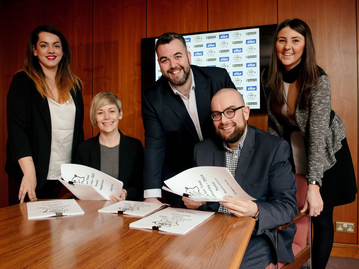 The Cash For Your Community judging panel: Natalie Coughlan, of the Shropshire Star, Hayley Oakley, of Enterprise Flex-E-Rent, Sam William of the Shropshire Star, Tom Macdonald of Enterprise and Catrin Guy of the Star