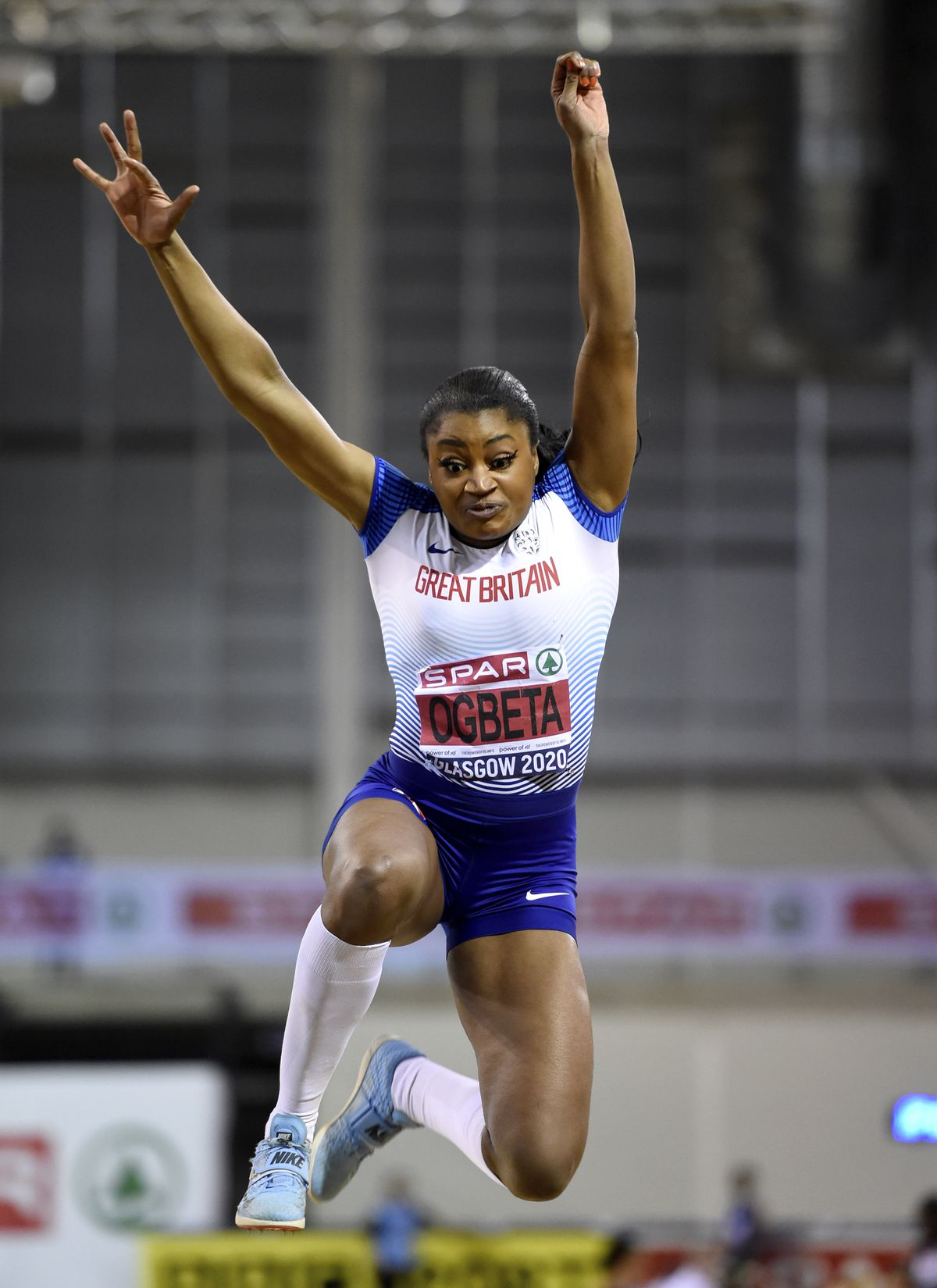 Naomi Ogbeta competes in the Women's Triple Jump during day two of the SPAR British Athletics Indoor Championships at Emirates Arena, Glasgow..