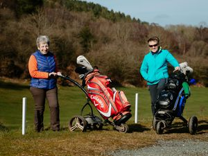 BORDER COPYRIGHT SHROPSHIRE STAR JAMIE RICKETTS 16/03/2021 - Llanymynech Golf Club has reopend for their Welsh Members. In Picture: Chris Jones and Keri Braughall.