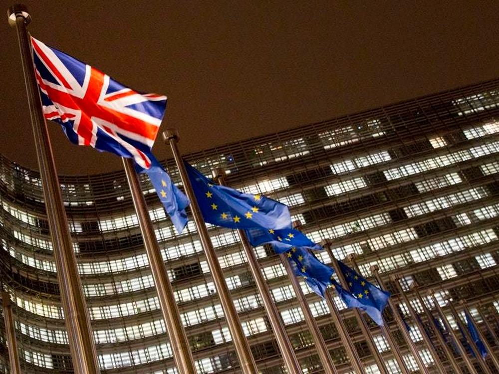 The Union flag and EU flags