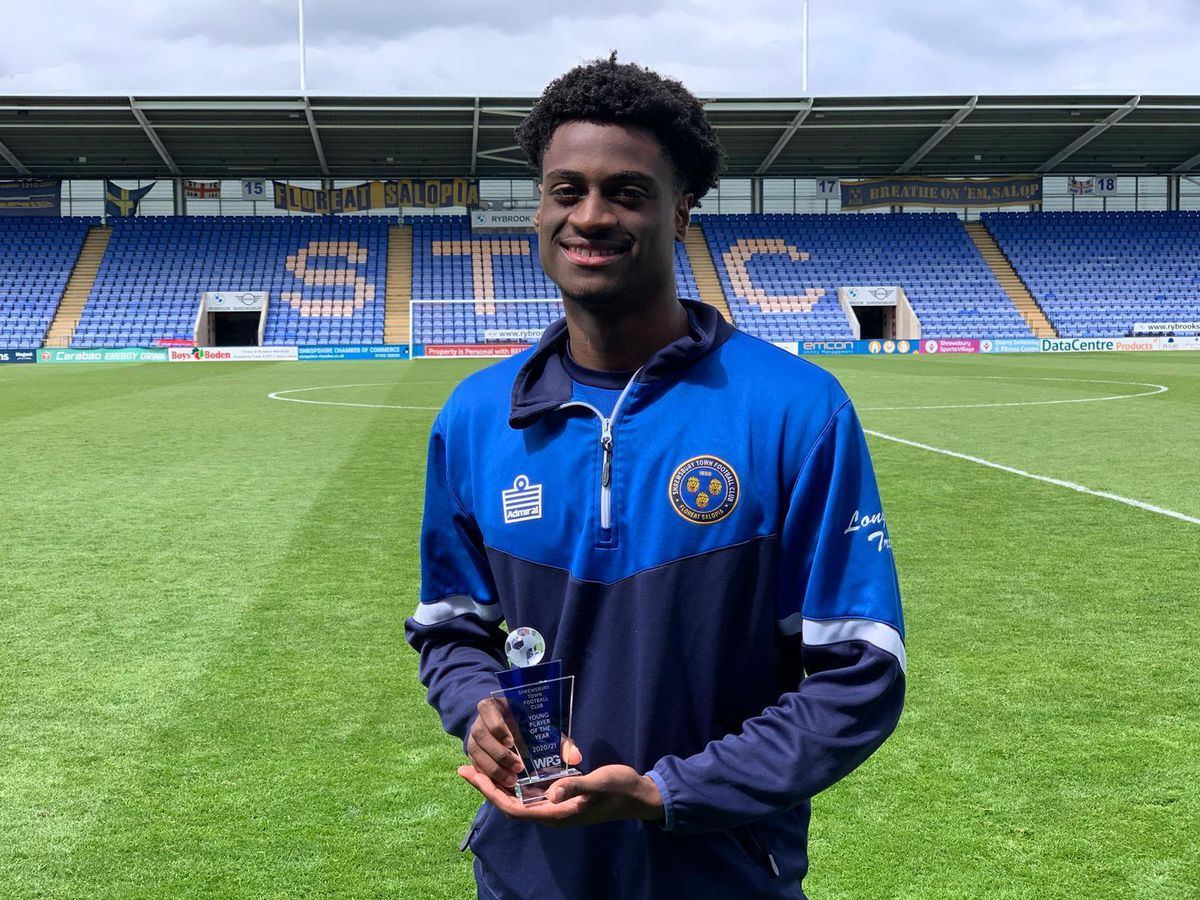 Nathanael Ogbeta is named Shrewsbury Town's young player of the season for 2020/21