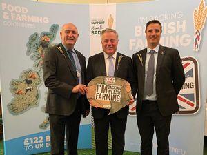 hoto of John Davies (NFU Cymru President), Simon Baynes MP and John Mercer (NFU Cymru Director) at the Back British Farming Day reception in the House of Commons on Wednesday