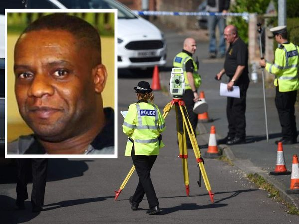 Police at the scene. Inset: Dalian Atkinson .