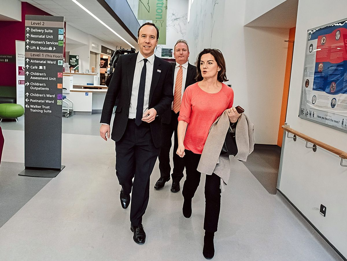 Health Secretary Matt Hancock visiting Telford's Princess Royal Hospital with town MP Lucy Allan