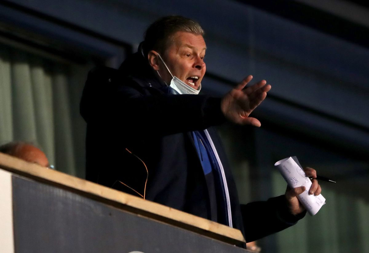 Steve Cotterill shouts his instructions from the back of the Roland Wycherley Stand during Town's 0-0 draw with Ipswich on Tuesday