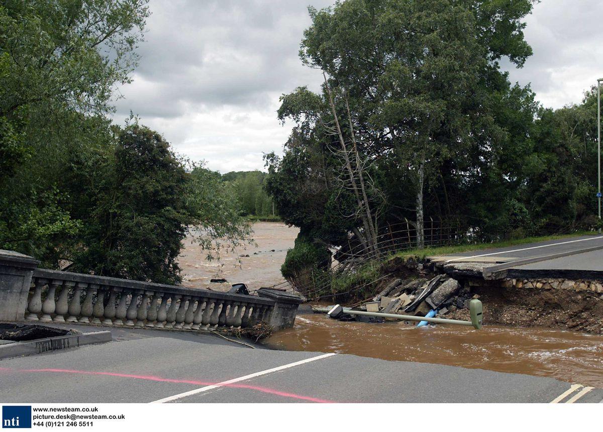 The collapsed bridge at Coronation Avenue in Ludlow