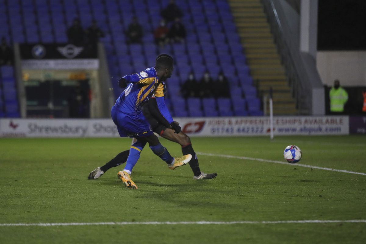 Shilow Tracey of Shrewsbury Town scores a goal to make it 1-2. (AMA)