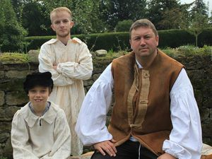 Ioan Utting as Cainy Ball, Dan Lewsey as Joseph Poorgrass, and Tom Humphreys as Gabriel Oak in a recent production of Far from the Madding Crowd