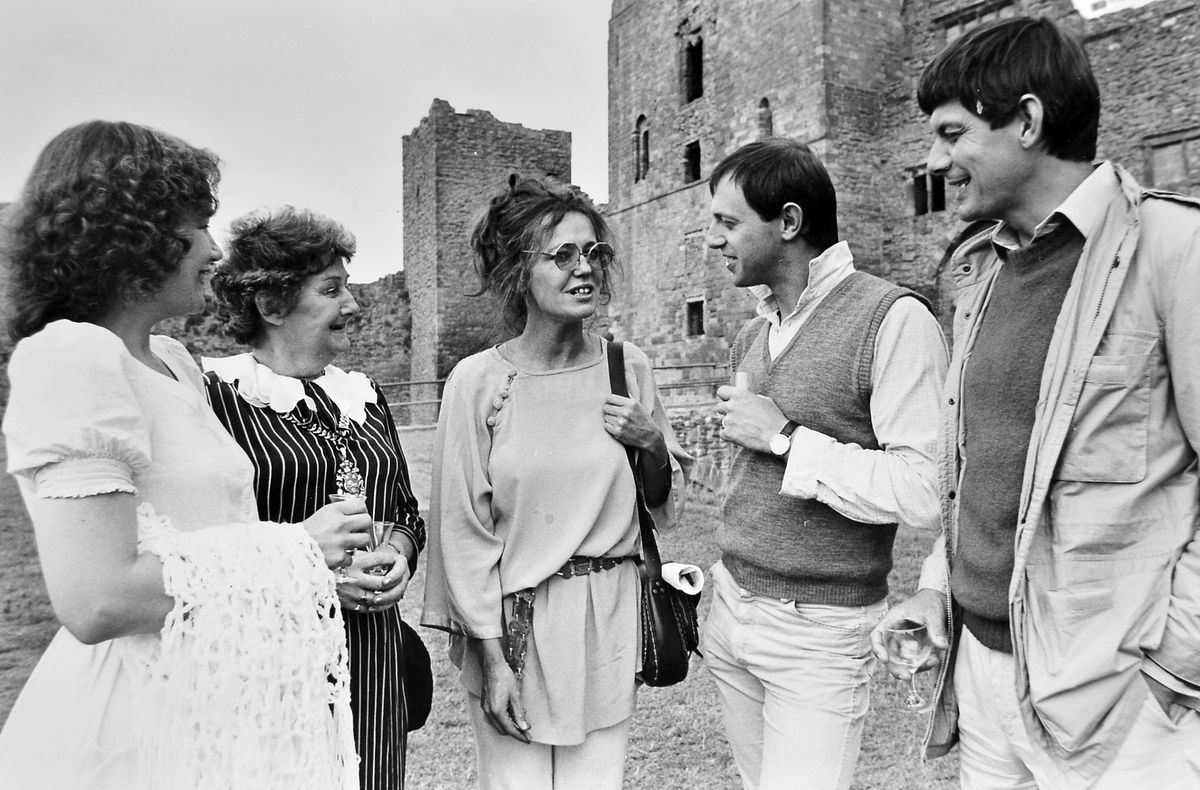 At Ludlow Festival in 1983, when the Shakespearean production was Antony and Cleopatra. From left, Carol Walker (play director's wife), Councillor Dilys Poole (mayor of Ludlow) and members of the cast, Lois Baxter, Kit Jackson and Paul Shelley.