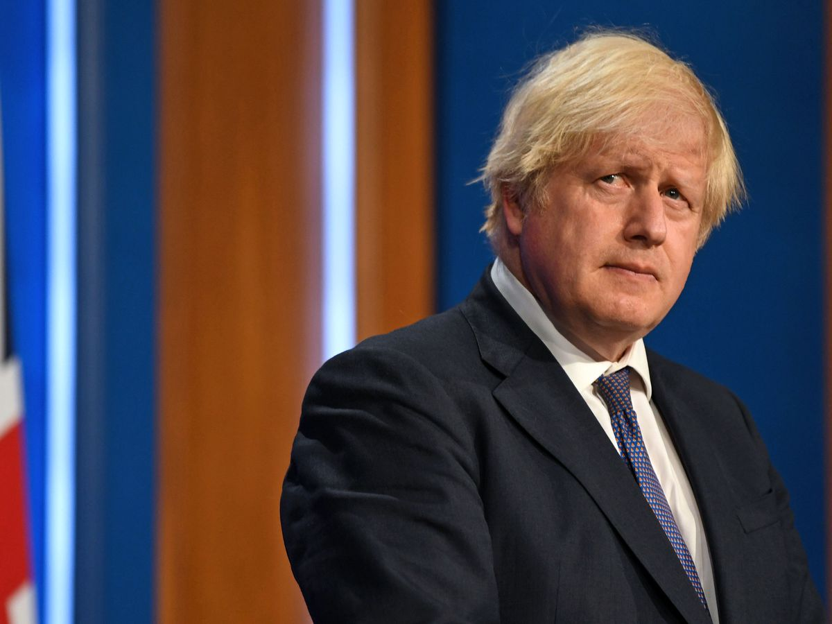 Britain's Prime Minister Boris Johnson gives an update on relaxing restrictions (Daniel Leal-Olivas/Pool/PA)