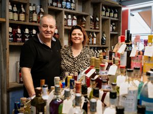 LAST COPYRIGHT SHROPSHIRE STAR JAMIE RICKETTS 03/10/2020 - Moonshire & Fuggles in Ironbridge has had a makeover. In Picture: Owners Maria Bowen and Derek Bowen..