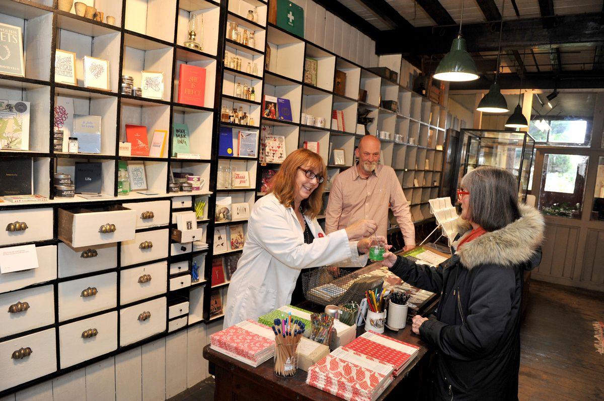 Deborah Alma, the Emergency Poet ,and James Sheard at the Poetry Pharmacy in Bishop's Castle