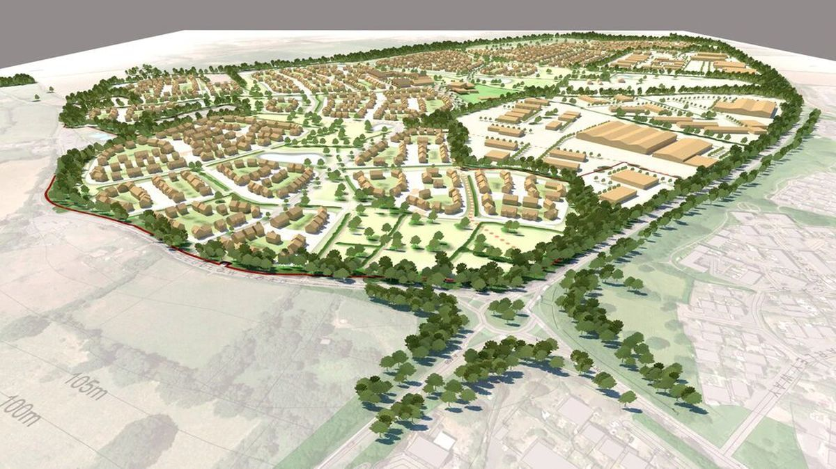 An artist's impression of what Tasley Garden Village could look like