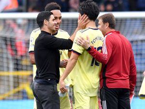 Mikel Arteta celebrates Arsenal's win