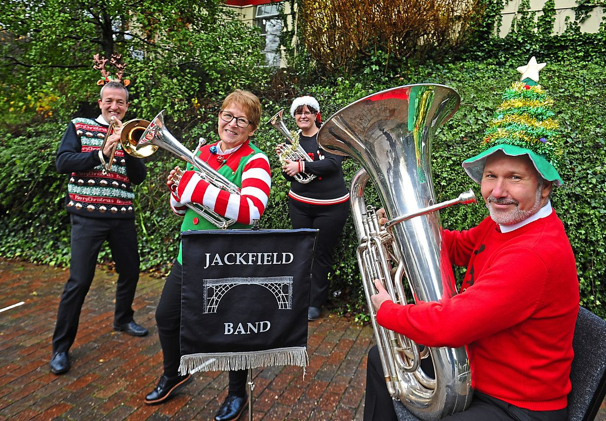 Spreading plenty of festive cheer are Simon Holland, Debbie Holland, Kelly Hodges, and Darrin Smith from Jackfield Brass Band