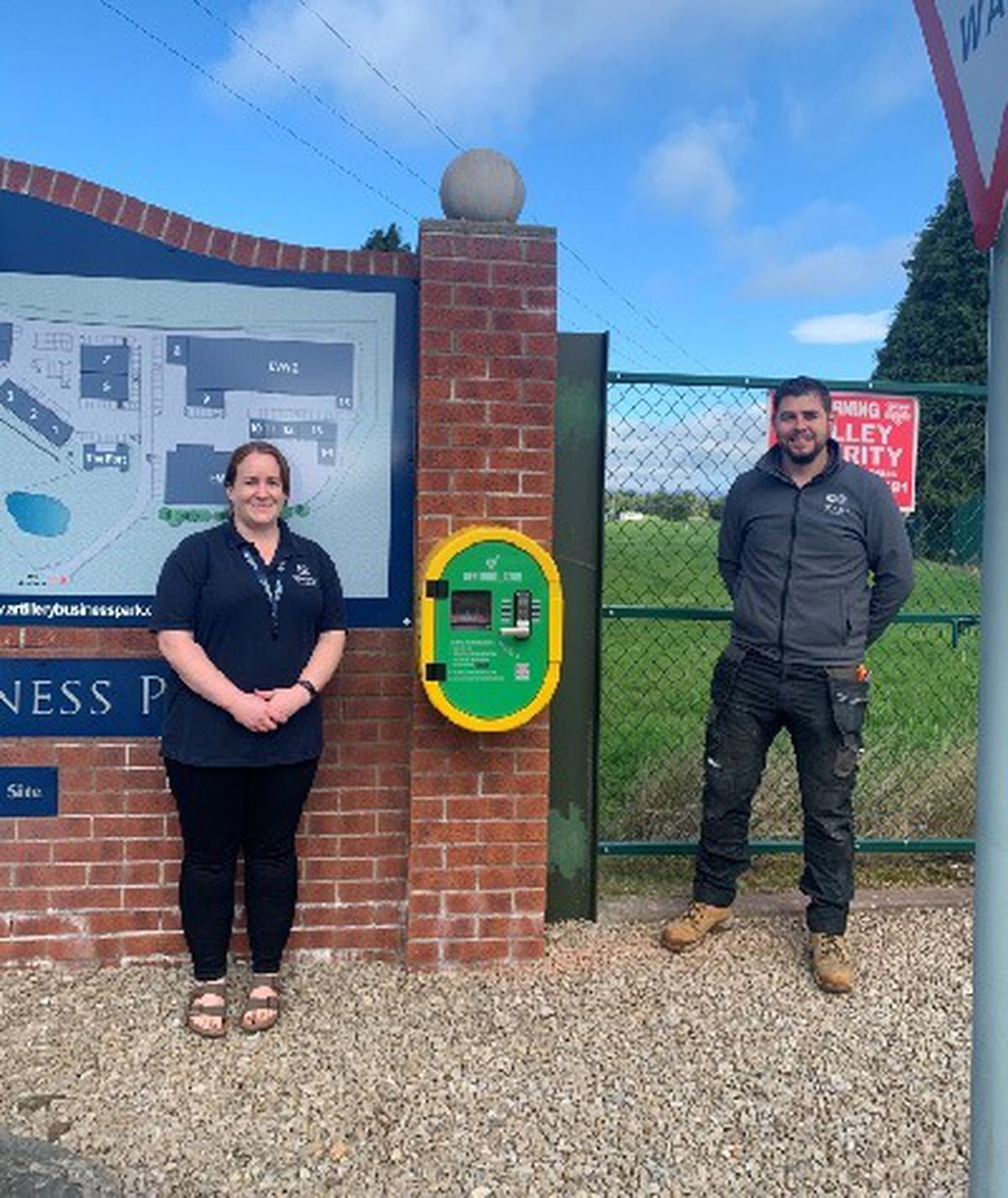 Manager at The Fort offices in Artillery Business Park, Jess Jones with electrical manager at Nexus Electrics Ady Ethelston