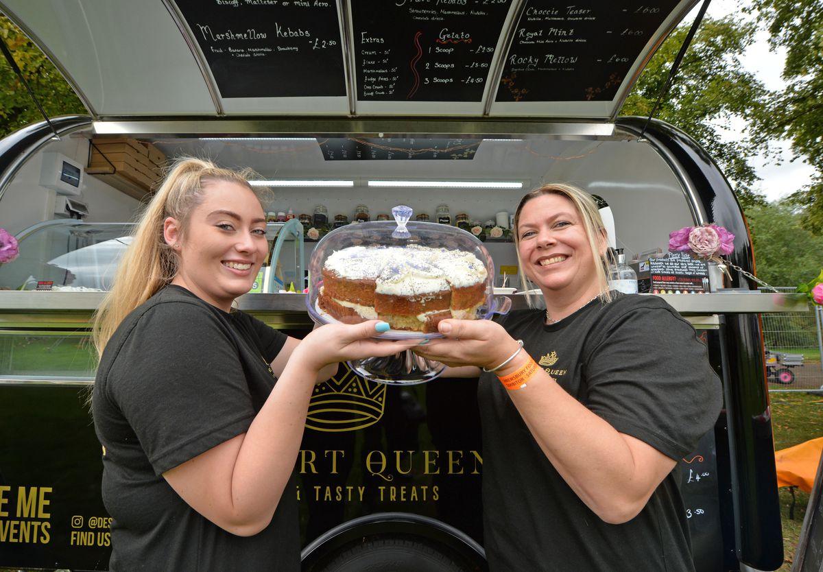 Dessert Queen manager Celeste Ashford, and (right) owner Jodine Ashford, both of Market Drayton, during Shrewsbury Food Festival
