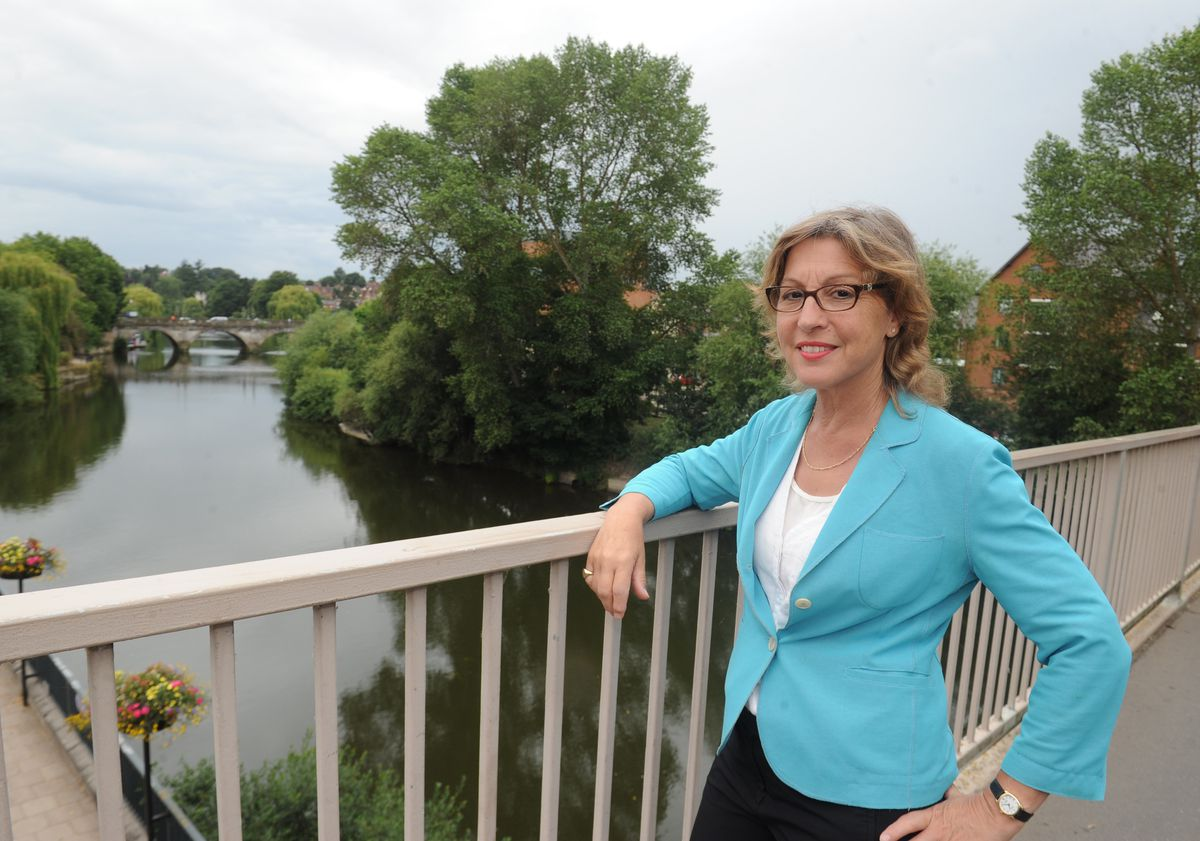 Floods minister Rebecca Pow during a visit to Shrewsbury earlier this year