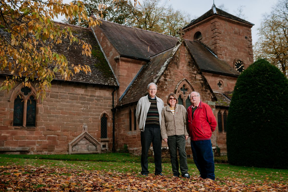 Reverend Keith Hodson, Dee Holes and David Tooth outside St Milurga Church in Beckbury