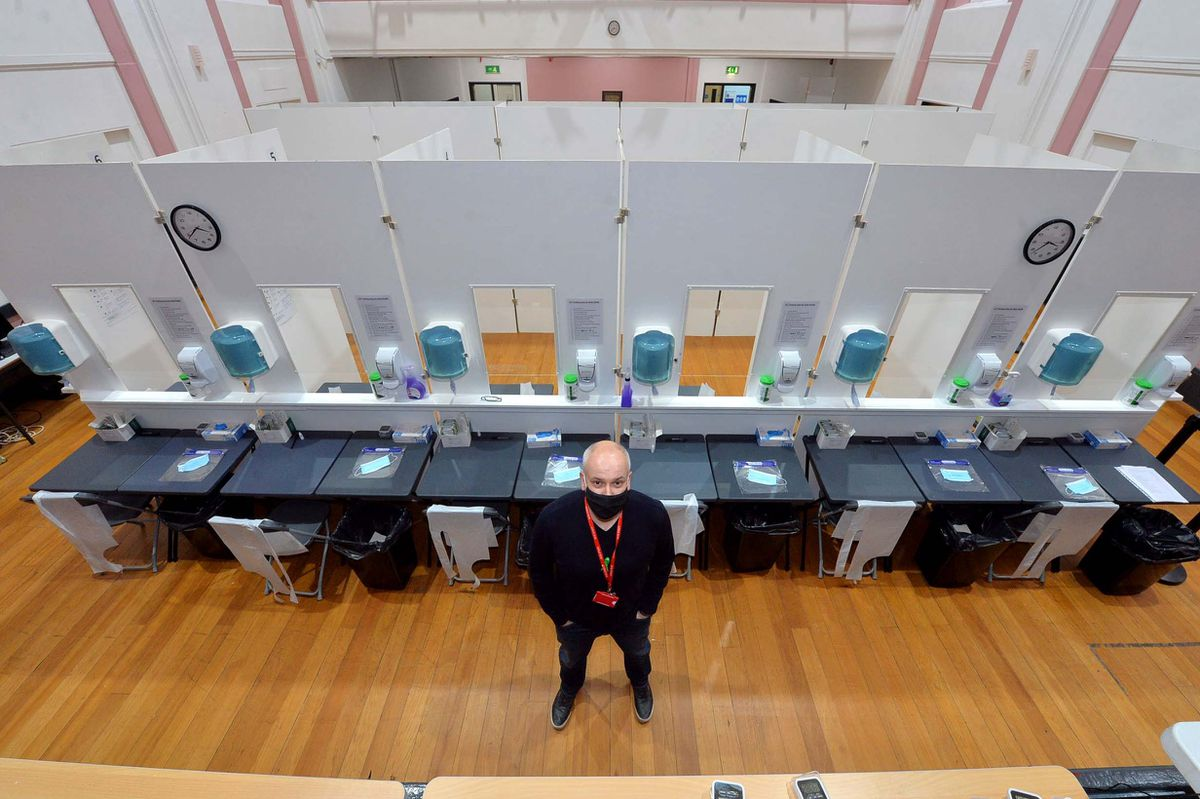 Mike Needham at the English Bridge campus' lateral flow testing area